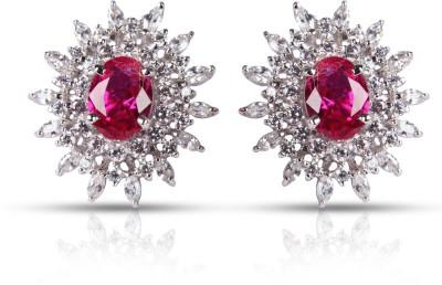 Zevrr Hallmarked Swarovski Crystal Silver Stud Earring at flipkart
