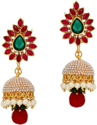 Jaipur Mart Ashiqui-2 Style Maroon Green Studded Alloy Jhumki Earring