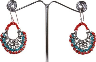 Angelfish Designer Thread work with German Silver findings Metal Dangle Earring
