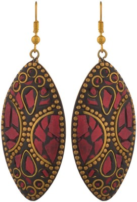 Blacksmith Tribal Red Crystal Metal Drop Earring