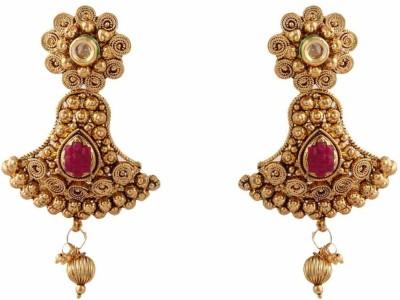 Jewlot Kundan Danglers and Dropspink 1066 Brass Drop Earring