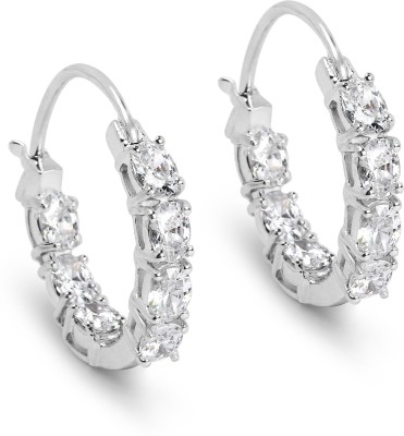 Johareez BridalMe 3.50CTW White Cubic Zirconia .925 Sterling Silver Hoops Earrings Cubic Zirconia Sterling Silver Hoop Earring