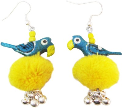 Juhi Malhotra Teal And Yellow Bird Wood Dangle Earring