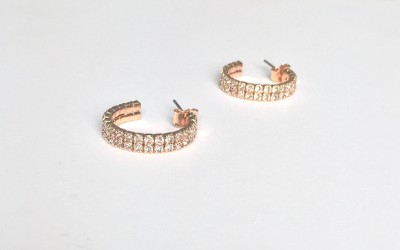 akjewl Sparkle Cubic Zirconia Metal Hoop Earring