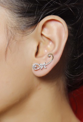 Muchmore Traditional Earring For Woman And Girls For Party And Wedding Occasion Cubic Zirconia, Pearl Alloy Cuff Earring