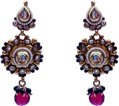 Kundaan Polki Classic Crystal Brass, Copper Chandelier Earring