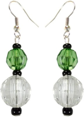 Crystals & Beads Emerald Green Colour Round Crystal & White Crystal & Onyx Black Moonball Acrylic, Glass, Crystal Dangle Earring