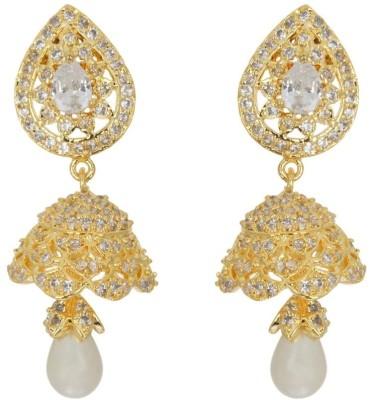 Aabhushan Gold Plated Jhumki Cubic Zirconia Alloy Jhumki Earring