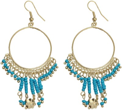 Swan Jewels Gold and Aqua Blue Jhumis Metal Chandelier Earring