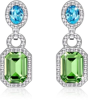 Yellow Chimes Peridot and Aquamarine Swarovski Crystal Alloy Drop Earring