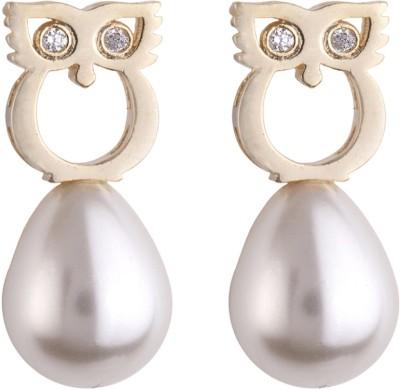 Siyora Bling Off White Cubic Zirconia Brass Drop Earring