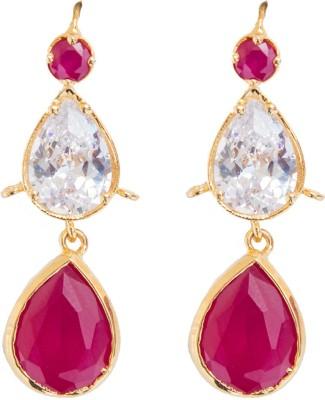 6 Lotus Stone Design Crystal Brass Dangle Earring