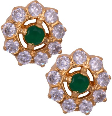 Mahaveer Pearls Ravishing Green Brass Stud Earring