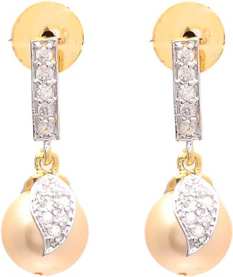 JewelAway Pearl Dangling Brass Drop Earring