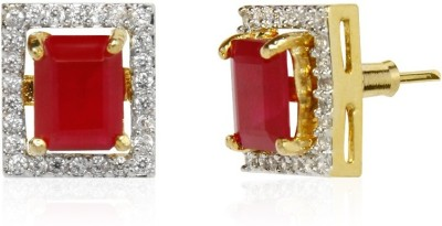 Bling N Beads Interchangeable Square Ruby, Emerald Alloy Stud Earring
