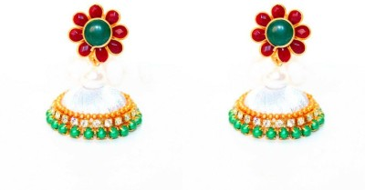 Craftworks white jimiki Silk Dori Jhumki Earring
