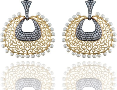 Chaahat Fashion Jewellery Simple And Beautiful Designed Cubic Zirconia Copper Chandbali Earring