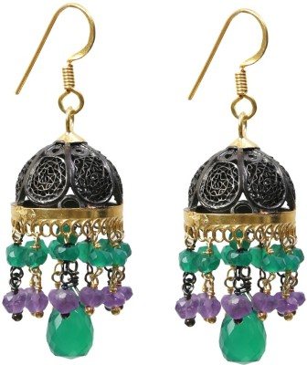 Ansh collection Princess Delight Onyx, Spinel Silver Jhumki Earring