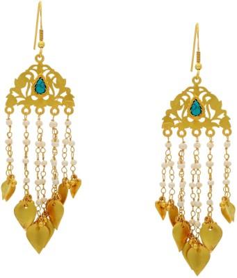 Krishna Pearls & Jewellers Princess Delight Turquoise Silver Dangle Earring