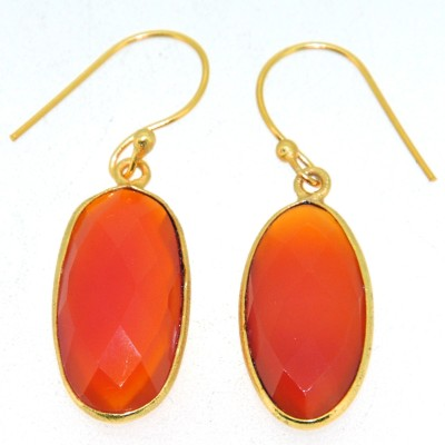 Casa De Plata Oval OrangeCarelian Brass Earring Carnelian Brass Dangle Earring