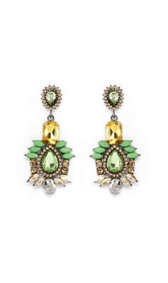 Rudrani Leaf Design Titanium, Alloy, Crystal Drop Earring