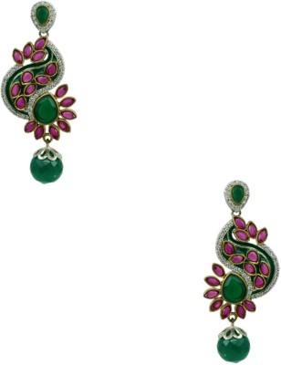 Orniza Victorian Earrings in Ruby & Emerald Color and Rhodium Polish Brass Dangle Earring