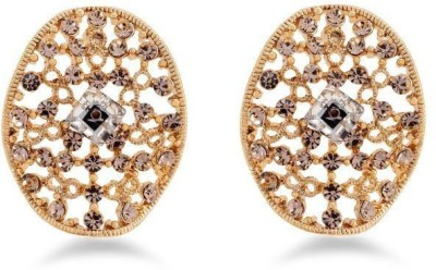 Jazz Jewellery Designer Earrings with Filigree Work and American Diamonds with Brown stones Alloy Drop Earring