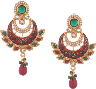 Young & Forever Maroon Meena and Pearl Crystal Cresent Designer Danglers Pearl Copper Chandbali Earring