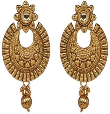 ACW Gold Plated Chand Bali with White Stone Earrings for Women Alloy Chandbali Earring
