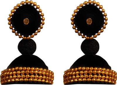 Scion Goldy Black Quilling Paper Jhumki Earring