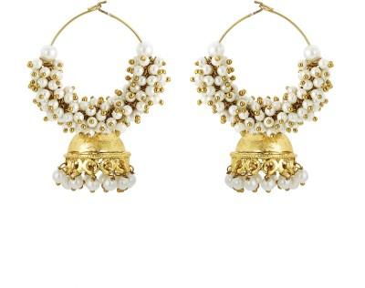 BeBold Cluster Pearl Jhumki Brass Jhumki Earring