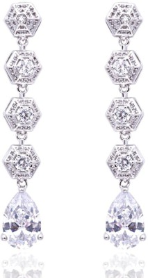 Siyora Hexagram Line Cubic Zirconia Brass Dangle Earring