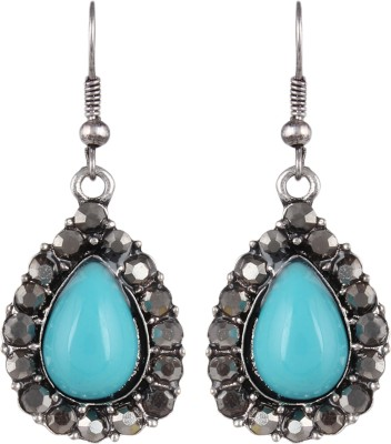 Anamis Antique look pan shape with stones, blue colour -Traditional cum fashionable AMFJEP006 Aluminum Dangle Earring