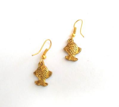 SrinidhiHandiCreations Fish Brass Dangle Earring