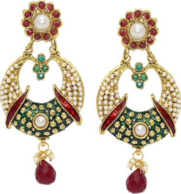 Aarnaa Rubi Drop Traditional Earing Alloy Drop Earring
