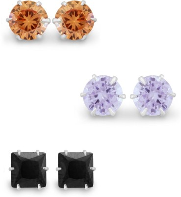 925 Silver 5mm 3 Pair of Colorful Assorted CZ Combo Pack Cubic Zirconia Silver Earring Set