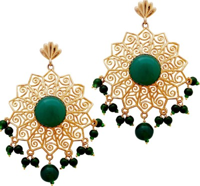 Gems N Pearls 22K Gold Micron Plated Designer Filigree Earrings with Coloured Green Stone Brass Chandelier Earring