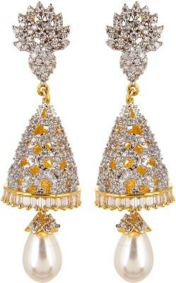 Moda Stella American Diamond Gold Plated White & Gold Color Brass Jhumki Earring