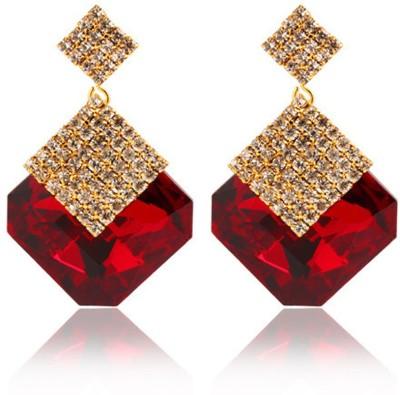Glitz Big Rhombus Crystal Alloy Drop Earring