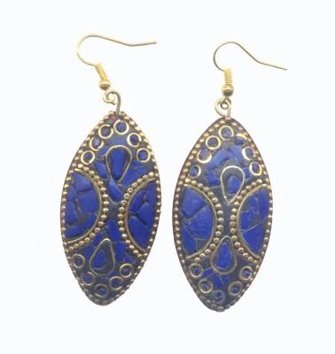 Pearls India Ellipse Blue Metal, Lac Dangle Earring