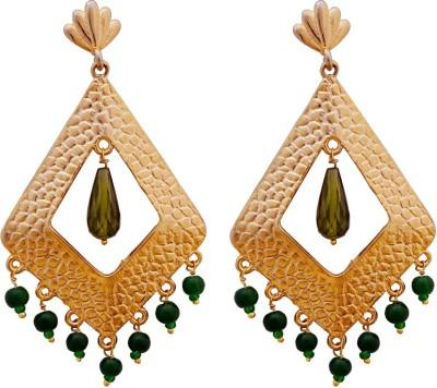 Gems N Pearls Designer Filigree Brass Chandelier Earring