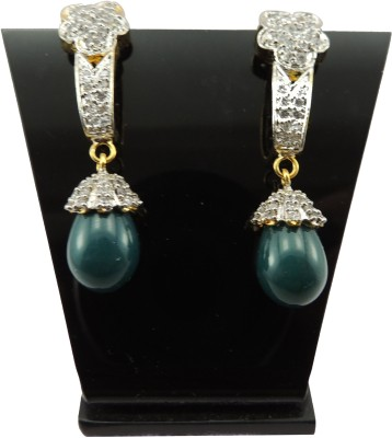 Bharat Sales Green Color With Beautiful Casual Hit Cubic Zirconia Copper Drop Earring