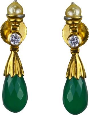 Pearl Paradise Mermaid Cubic Zirconia, Pearl, Emerald Alloy Dangle Earring