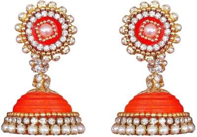 Jyotis Creations Orange And Gold Colour Paper Jhumki Earring