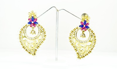 Chouhan Stylish Leaf Design Metal Chandbali Earring