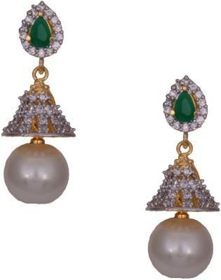 Mahaveer Pearls Rich Green & White Brass Drop Earring