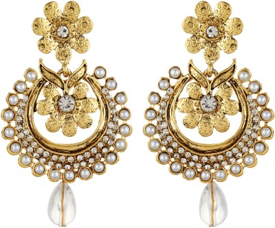 Fabula Gold & White Zircon American Diamond AD CZ & Pearl Traditional Ethnic Jewellery Filigree Drop for Women, Girls & Ladies Metal Dangle Earring