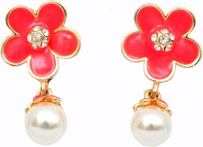 WoW Red & White -Glass Alloy Drop Earring