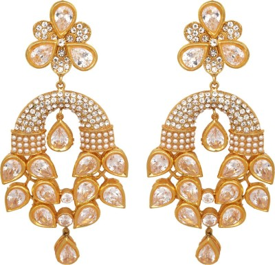 Womaniya beautiful kundan stone look Alloy Chandelier Earring