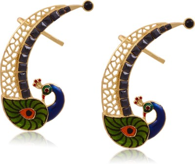 Hyderabad Jewels Beautiful Peacock Pearl Copper Cuff Earring